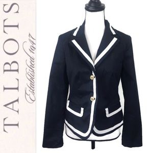 Talbots Navy White Trim Nautical Cotton Blazer 2
